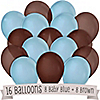 Brown and Blue - Birthday Party Latex Balloons - 16 ct