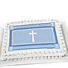 Delicate Blue Cross - Personalized Baptism Cake Toppers