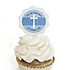 Delicate Blue Cross - Personalized Baptism Cupcake Picks and Sticker Kit - 12 ct