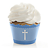 Delicate Blue Cross - Baptism Cupcake Wrappers