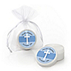 Delicate Blue Cross - Personalized Baptism Lip Balm Favors