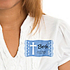 Delicate Blue Cross - Personalized Baptism Name Tag Stickers - 8 ct