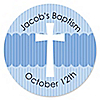 Delicate Blue Cross - Personalized Baptism Sticker Labels - 24 ct