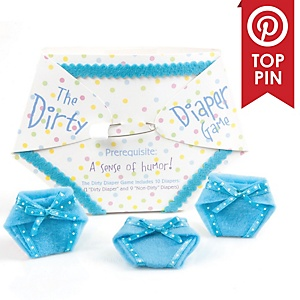 Blue Dirty Diaper Game - Boy Baby Shower Game - (10 diapers)