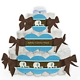 Blue Baby Elephant - 3 Tier Personalized Square Baby Shower Diaper Cake