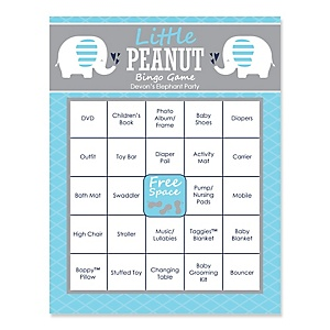 Blue Baby Elephant - Bingo Personalized Baby Shower Games - 16 Count