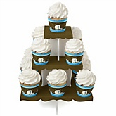 Blue Baby Elephant - Baby Shower Cupcake Stand & 13 Cupcake Wrappers