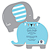Blue Baby Elephant - Personalized Baby Shower Invitations