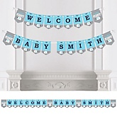 Blue Baby Elephant - Personalized Baby Shower Bunting Banner