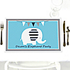 Blue Baby Elephant  - Personalized Baby Shower Placemats