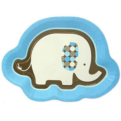blue baby elephant baby shower dinner plates 8 ct