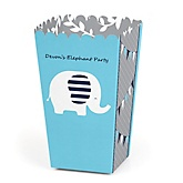 Blue Elephant - Personalized Party Popcorn Favor Treat Boxes