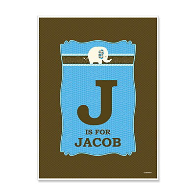 Blue Baby Elephant - Personalized Baby Shower Poster Gifts