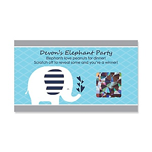 Blue Baby Elephant - Personalized Baby Shower Game Scratch Off Cards - 22 ct