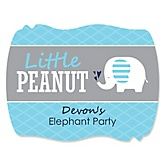 Blue Baby Elephant - Personalized Baby Shower Squiggle Sticker Labels - 16 Count