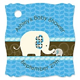 Blue Baby Elephant - Personalized Baby Shower Tags - 20 Count