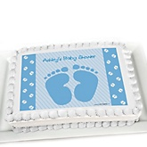 Baby Feet Blue - Personalized Baby Shower Cake Image Topper