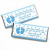 Baby Feet Blue - Personalized Baby Shower Candy Bar Wrapper Favors
