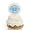 Baby Feet Blue - Personalized Party Cupcake Picks and Sticker Kit - 12 ct