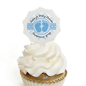 Baby Feet Blue - 12 Cupcake Picks & 24 Personalized Stickers - Baby Shower Cupcake Toppers