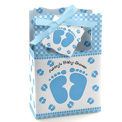 baby feet blue personalized baby shower favor boxes