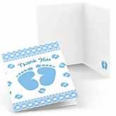 Baby Feet Blue - Baby Shower Thank You Cards - Set of  8