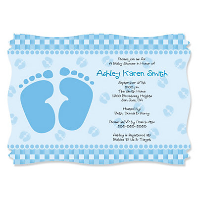 Baby Feet Blue - Personalized Baby Shower Invitations Baby Shower Party Supplies