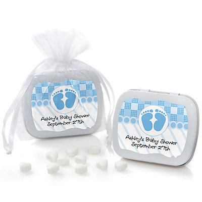 Baby Feet Blue - Mint Tin Personalized Baby Shower Favors...