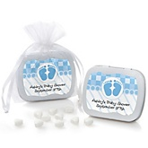 Baby Feet Blue - Mint Tin Personalized Baby Shower Favors