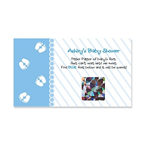 Baby Feet Blue - Personalized Baby Shower Game Scratch Off Cards - 22 ct