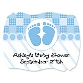 Baby Feet Blue - Personalized Baby Shower Squiggle Sticker Labels - 16 Count