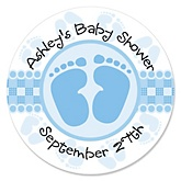 Baby Feet Blue - Personalized Baby Shower Round Sticker Labels - 24 Count