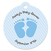 Baby Feet Blue - Round Personalized Baby Shower Die-Cut Tags - 20 Count