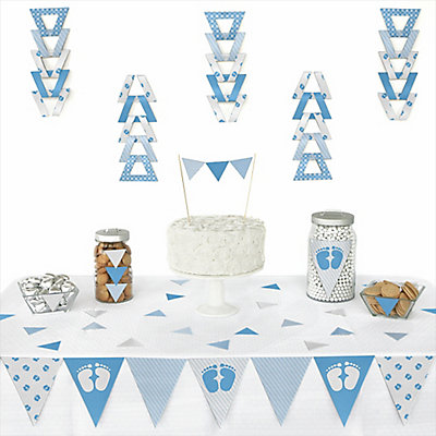 baby feet blue 72 piece triangle baby shower decoration kit