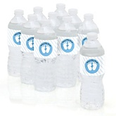 Baby Feet Blue - Personalized Baby Shower Water Bottle Sticker Labels - Set of 10