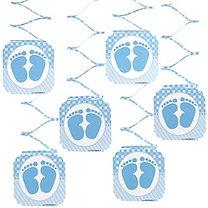 Baby Feet Blue - Baby Shower Hanging Decorations - 6 ct
