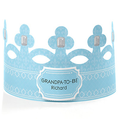 blue grandpa to be crown personalized baby shower gift