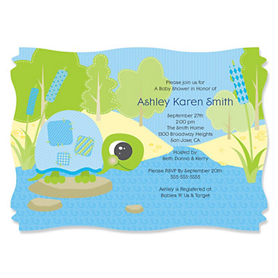 Blue Baby Turtle - Personalized Baby Shower Invitations With Squiggle Shape Baby Shower Party Supplies