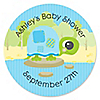 Blue Baby Turtle - Personalized Baby Shower Sticker Labels - 24 ct