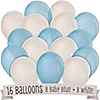 Blue and White - Birthday Party Latex Balloons - 16 ct