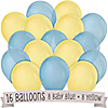 Blue and Yellow - Birthday Party Latex Balloons - 16 ct