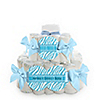 Blue Baby Zebra - Personalized Baby Shower Square Diaper Cakes - 2 Tier