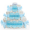 Blue Baby Zebra - Personalized Baby Shower Square Diaper Cakes - 3 Tier