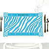 Blue Baby Zebra - Personalized Baby Shower Placemats