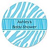 Blue Baby Zebra - Personalized Baby Shower Sticker Labels - 24 ct