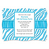 Blue Zebra - Personalized Birthday Party Invitations