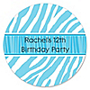 Blue Zebra - Personalized Birthday Party Sticker Labels - 24 ct