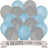 Baby Blue and Gray - Party Latex Balloons - 16 ct