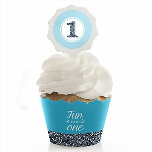 Fun to be One - 1st Birthday Boy - Birthday Party Cupcake Wrapper & Pick Party Kit - Set of 24