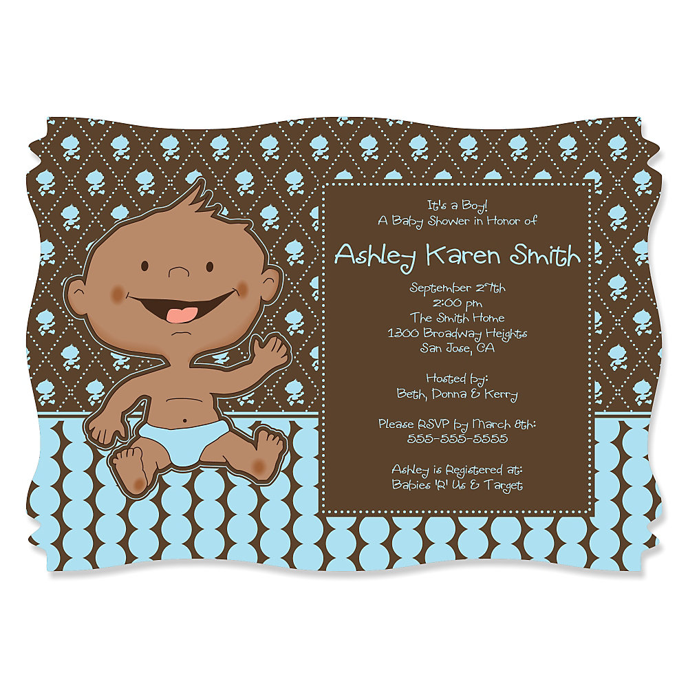 Modern Baby Boy African American   Personalized Baby Shower Invitations